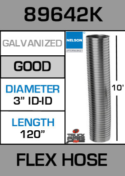 "3"" ID x 10' Galvanized Steel Flexible Exhaust 89642K"