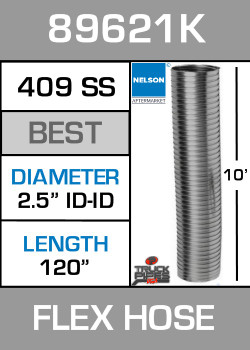 "2.5"" ID x 10' Stainless Steel Flexible Exhaust 89621K"