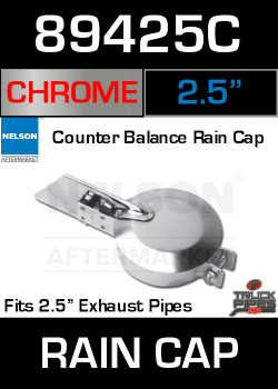 "2.5"" Exhaust Rain Cap Chrome Plated 89425C"