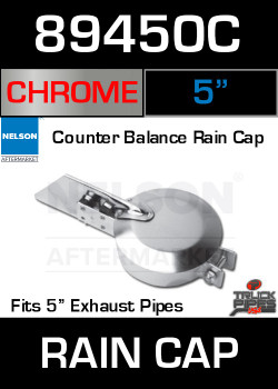 "5"" Exhaust Rain Cap Chrome Plated 89450C"