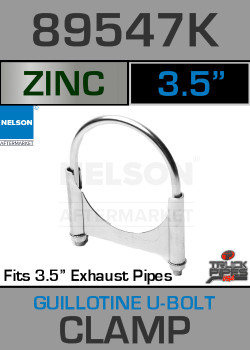 "3.5"" Guillotine U-Bolt Exhaust Clamp - Zinc 89547K"