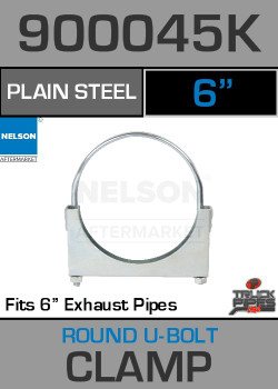 "6"" Standard U-Bolt Plain Steel Exhaust Clamp 900045K"