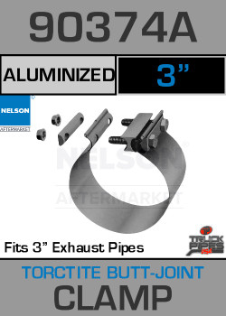 "3"" Aluminized Torctite Butt Joint Exhaust Clamp  90374A"