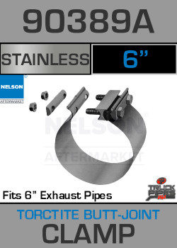 "6"" Stainless Steel Torctite Butt Joint Exhaust Clamp 90389A"