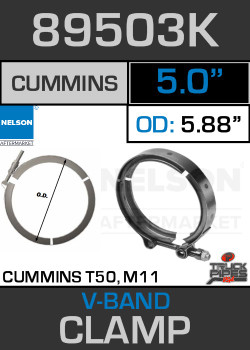 "5"" V-Band Clamp for Cummins T50 Turbo/M11 5.88 Lip 89503K"