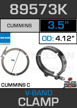 "3.5"" V-Band Clamp for Cummins C Engine 4.12 Lip 89573K"