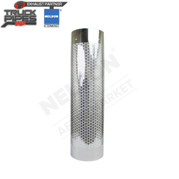 "8.5"" to 10.5"" Muffler 1/2 Wrap SS x 48"" Long SS Heat Shield - Horizontal Slots Nelson 89996C"