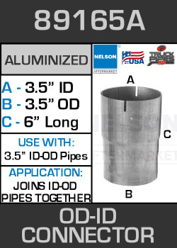 "89165A Exhaust Connector Aluminized 3.5"" OD to ID Straight Pipe"