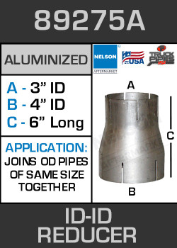 "89275A Exhaust Reducer Aluminized 4"" ID to 3"" ID x 6"" Long"