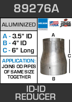 "89276A Exhaust Reducer Aluminized 4"" ID to 3.5"" ID x 6"" Long"
