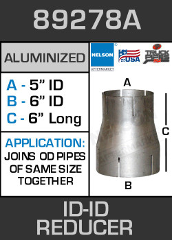 "89278A Exhaust Reducer Aluminized 6"" ID to 5"" ID x 6"" Long"