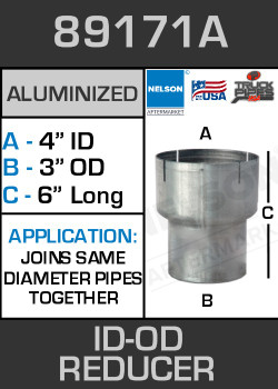 "89171A Exhaust Reducer Aluminized 4 ID to 3"" OD x 6"" Long"