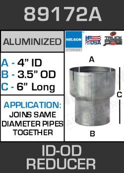 "89172A Exhaust Reducer Aluminized 4"" ID to 3.5"" OD x 6"" Long"