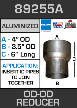 "89255A Exhaust Reducer Aluminized 4"" OD to 3.5"" OD x 6"" Long"