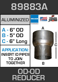 "89883A Exhaust Reducer Aluminized 6"" OD to 5"" OD x 6"" Long"