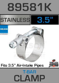 """89581K 3.5"""" T-Bar Exhaust Clamp for Air Intake Applications"""