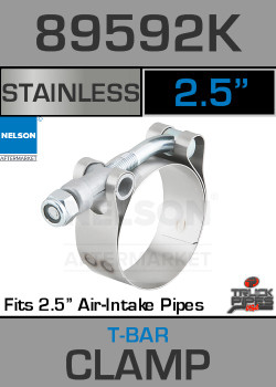 """89592K 2.5"""" T-Bar Exhaust Clamp for Air Intake Applications"""