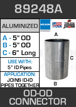 """89248A Exhaust Connector Aluminized Straight Pipe 5"""" OD-OD"""