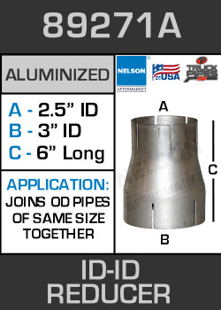 "89271A Exhaust Reducer Aluminized 3"" ID to 2.5"" ID x 6"" Long"