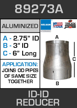 "89273A Exhaust Reducer Aluminized 3"" ID to 2.75"" ID x 6"" Long"