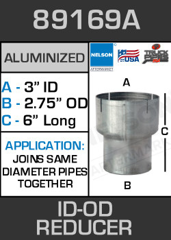 "89169A Exhaust Reducer Aluminized 3"" ID to 2.75"" OD x 6"" Long"