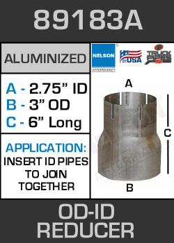 "89183A Exhaust Reducer Aluminized 3"" OD to 2.75"" ID x 6"" Long"