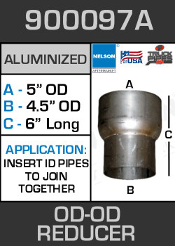 "900097A Exhaust Reducer Aluminized 5"" OD to 4.5"" OD x 6"" Long"