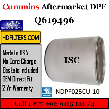 Q619496-NDPF025CU-10 Q619496 Cummins ISC Engine Diesel Particulate Filter DPF