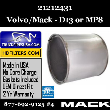 21212431-NDPF028MV-10 21212431 Volvo DPF for D13 MP8 Engine