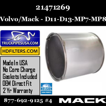 21471269-NDPF060MV-10 21471269 Volvo/Mack DPF for D11 / DD13 / MP7 / MP8 Engine