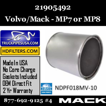 21905492-NDPF018MV-10 21905492 Volvo Mack DPF for MP7 or MP8 Engine