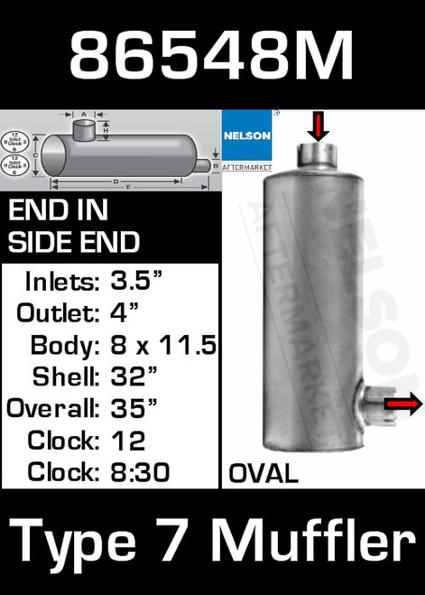 """86548M 8.3"""" x 11.5"""" Oval Muffler 32"""" Long with 3.5"""" IN-4"""" OUT-TYPE 7"""