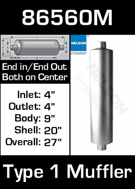 "86560M 9"" Round Muffler 20"" Long with 4"" IN-OUT TYPE 1"