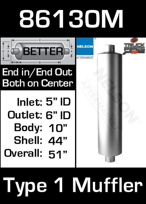 """86130M 10"""" Round Muffler 44"""" Long with 5""""ID 6"""" OUT TYPE 1"""