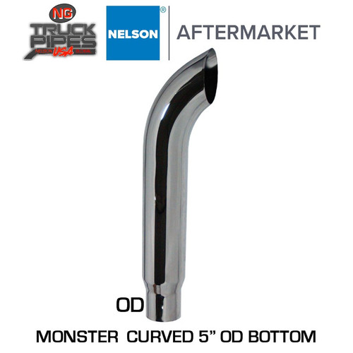 """6"""" Reduced to 5"""" OD x 72"""" Curved Exhaust Stack Chrome Nelson 90571C"""