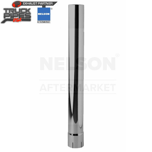 """3"""" x 36"""" Straight Exhaust Stack Pipe Chrome ID Bottom Nelson 89020C"""
