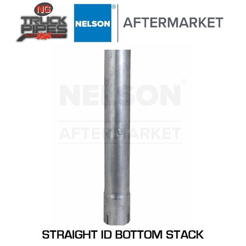 """3.5"""" x 24"""" Straight Exhaust Stack Pipe Aluminized ID Bottom Nelson 89022A"""