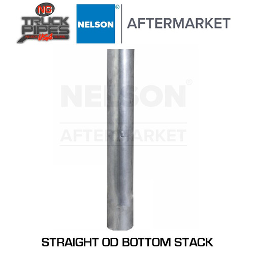 """3.5"""" x 60"""" Straight Exhaust Stack Pipe Aluminized OD Bottom Nelson 89204A"""