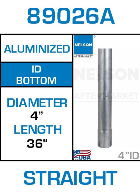 """89026A 4"""" x 36"""" Aluminized Exhaust Stack Straight Pipe-ID"""