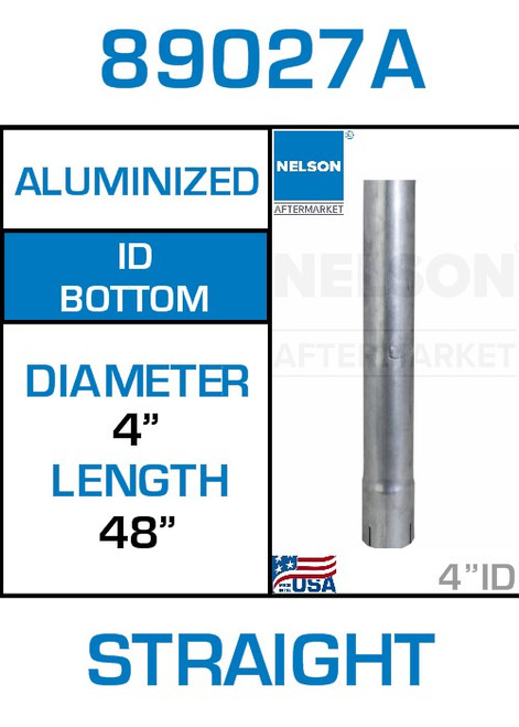 """89027A 4"""" x 48"""" Aluminized Exhaust Stack Straight Pipe-ID"""