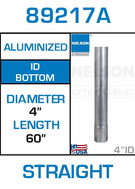 """89217A 4"""" x 60"""" Aluminized Exhaust Stack Straight Pipe-ID"""