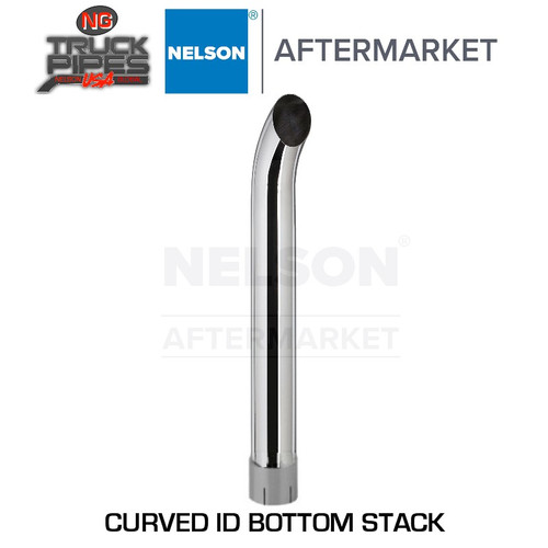 "4"" x 24"" Curved Exhaust Stack Chrome ID Bottom Nelson 89055C"