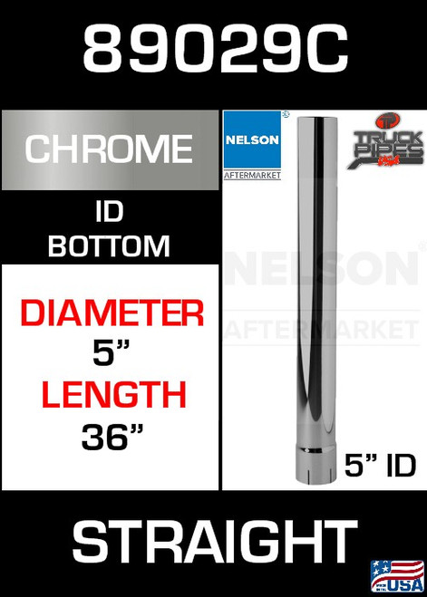 "89029C 5"" x 36"" Chrome Exhaust Stack Straight-ID"