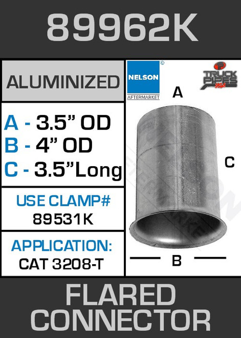 "89962K 3.5"" OD-ID Aluminized Flared Connector 4"" Lip 3208T"