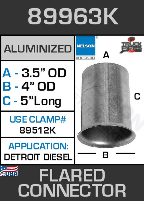 "89963K 3.5"" OD-ID Aluminized Flared Connector 4"" Lip 45 Degree"
