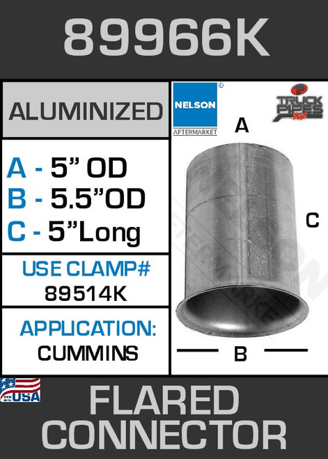"89966K 5"" OD-ID Aluminized Flared Connector 5.5"" Lip"