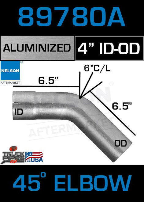 """45 Degree Exhaust Elbow Aluminized 4"""" with 6.5"""" Legs OD-ID"""