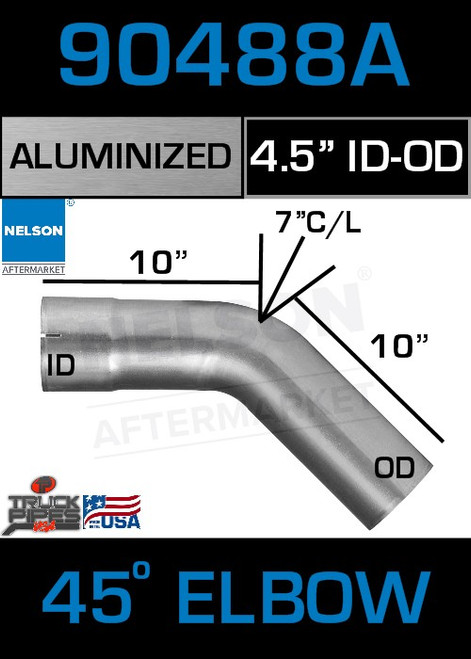 """45 Degree Exhaust Elbow Aluminized 4.5"""" with 7.25"""" Legs ODID"""