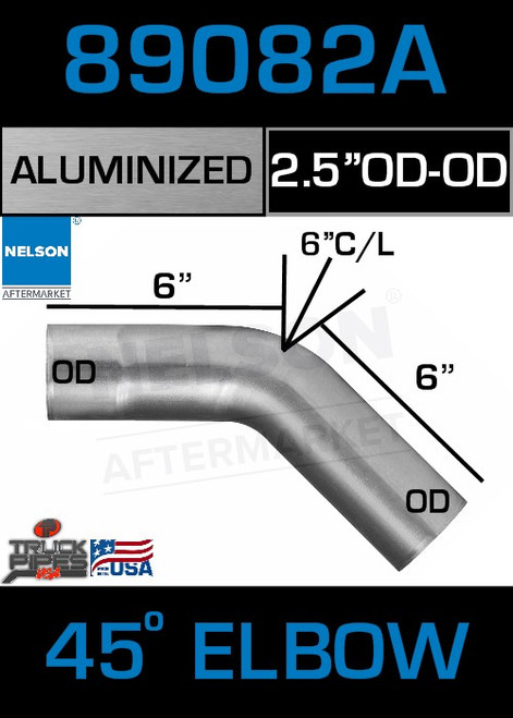 "45 Degree Exhaust Elbow Aluminized 2.5"" with 4.25"" Legs ODOD"