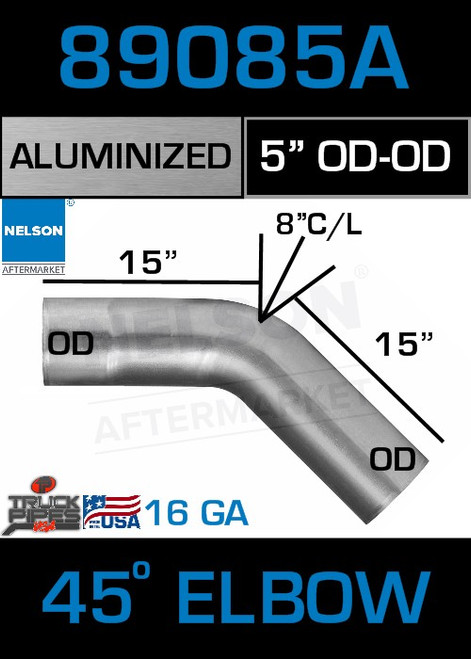 """45 Degree Exhaust Elbow Aluminized 5"""" with 15"""" Legs OD-OD"""